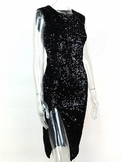 Black Sequin Detail Thigh Split Side Dress