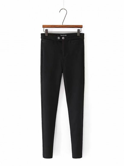 Black High Waist Stretch Fleece Skinny Pants