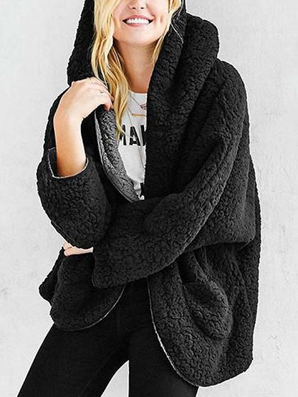 Black Reversible Faux Fur Hooded Coat