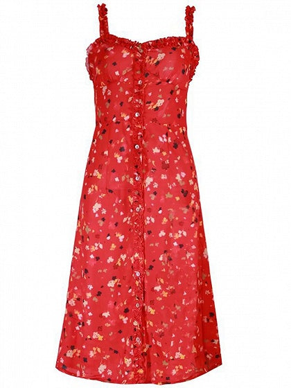 Red Button Placket Floral Print Dress