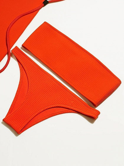 Red Bikini Bandeau Ribbed