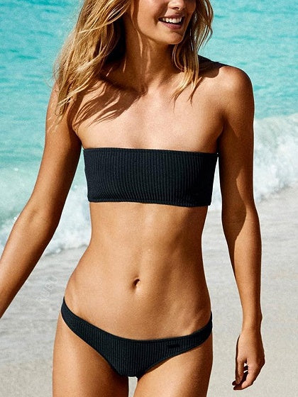 Black Bandeau Ribbed Bikini Top And Bottom