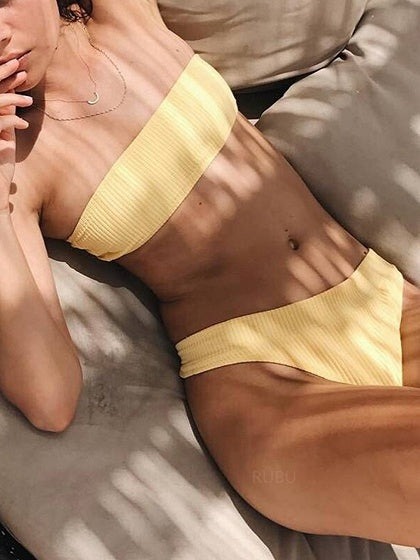 Yellow Bandeau Ribbed Bikini Top And Bottom