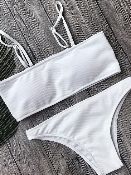 White Bandeau Ribbed Bikini Top And Bottom