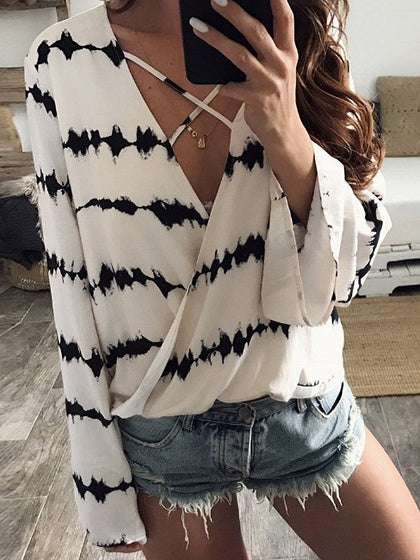 White Blouse Contrast V-neck Flare Sleeve