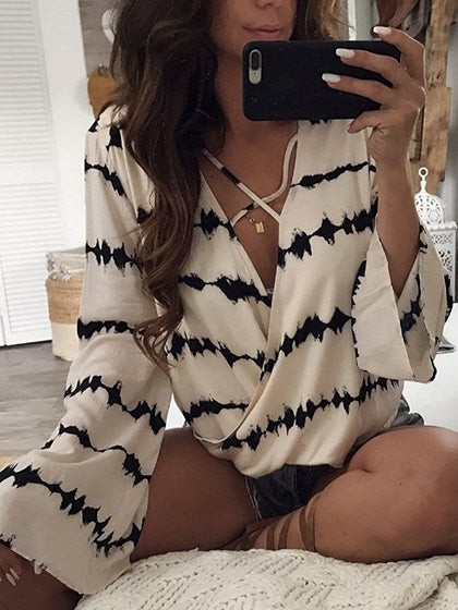 White Contrast V-neck Flare Sleeve Blouse