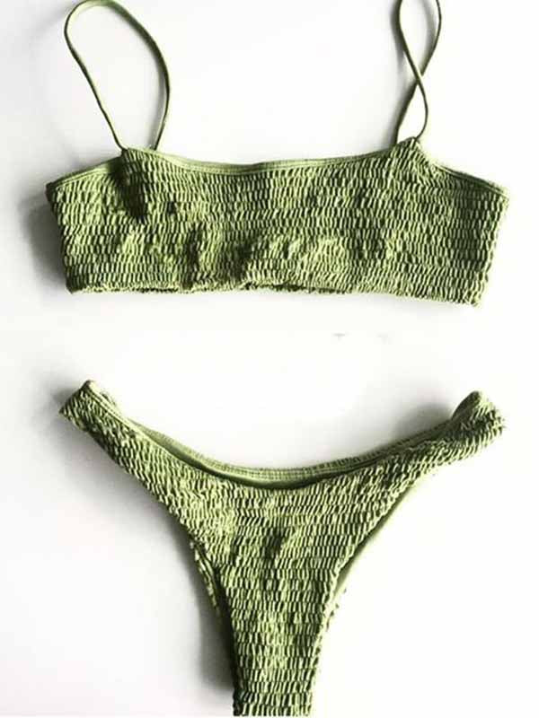 Green Stretch Bikini Top And Bottom