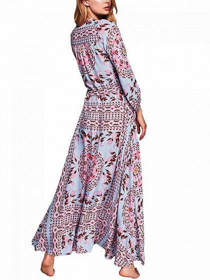 Blue V-neck Drawstring Waist Print Detail Maxi Dress