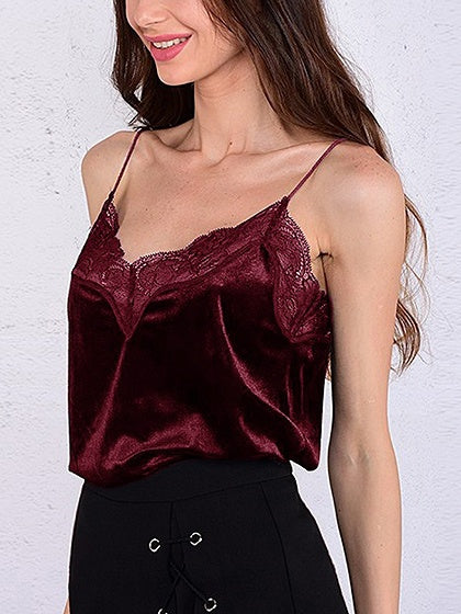 Red Velvet Spaghetti Strap Lace Panel Tank