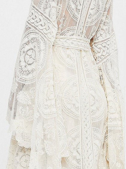 White Coverup Tie Waist Open Front Flare Sleeve Lace