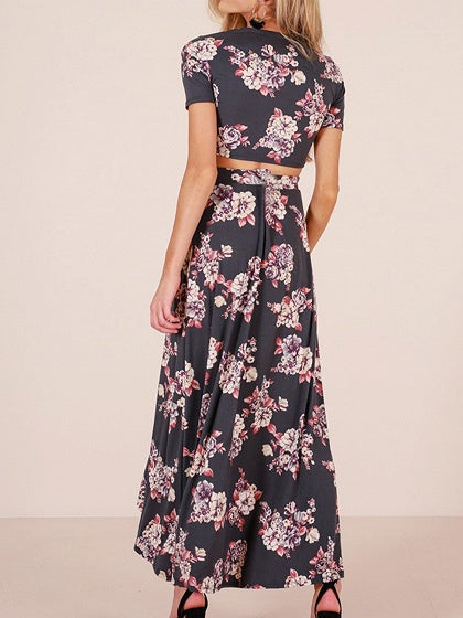 Black Two Pieces V-neck Floral Print High Waist