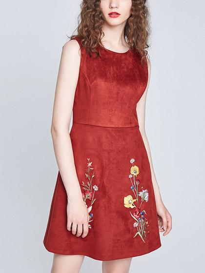 Red Faux Suede Embroidery Floral Sleeveless A-line Dress
