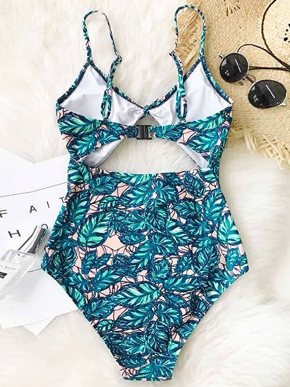 Green Knot Front Leaves Print Swimsuit
