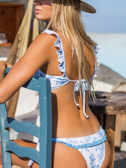 Light Blue Ruffle Trim Bikini Top And Bottom
