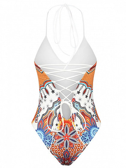 Polychrome Halter Print Detail Lace Up Back Swimsuit