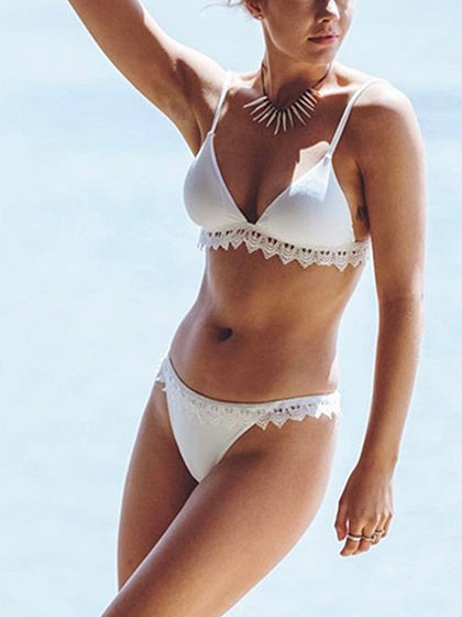 White Lace Panel Tie Back Bikini Top And Bottom