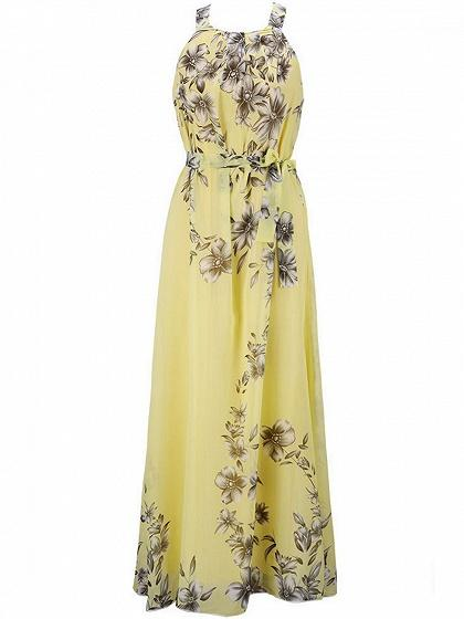 Tie Waist Print Detail Maxi Dress