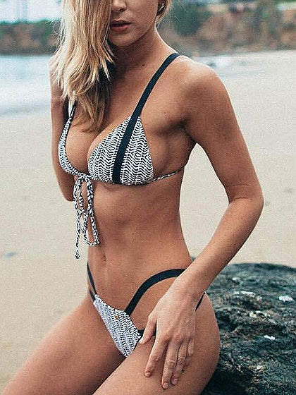 Black Tie Front Bikini Top And Bottom