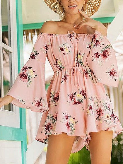 Pink Off Shoulder Floral Print Flare Sleeve Romper Playsuit