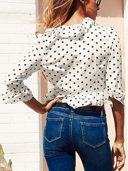 White V-neck Ruffle Trim Polka Dot Detail Blouse