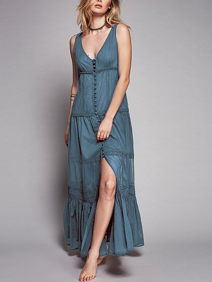 Blue Lace Panel Maxi Dress