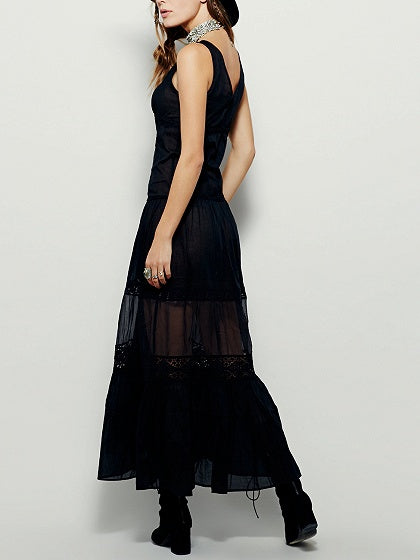 Black Lace Panel Maxi Dress
