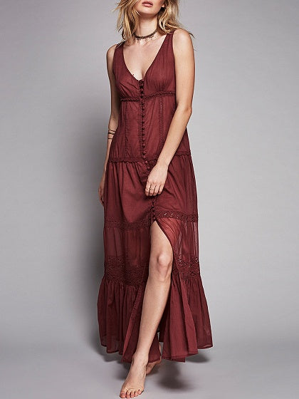 Burgundy Lace Panel Maxi Dress