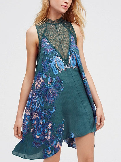 Green Lace Panel Floral Print Mini Dress