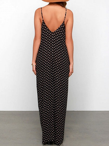 Black Spaghetti Strap V-neck Polka Dot Detail Maxi Dress