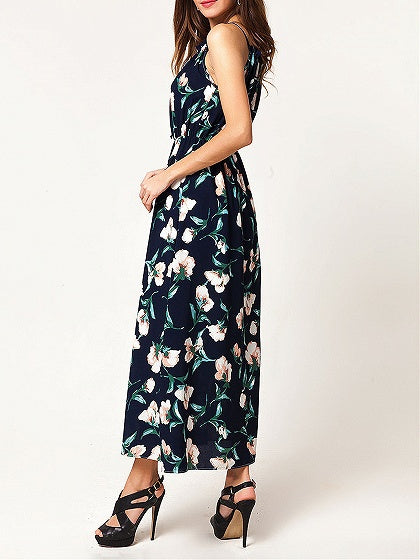 Black Spaghetti Strap Floral Print Maxi Dress