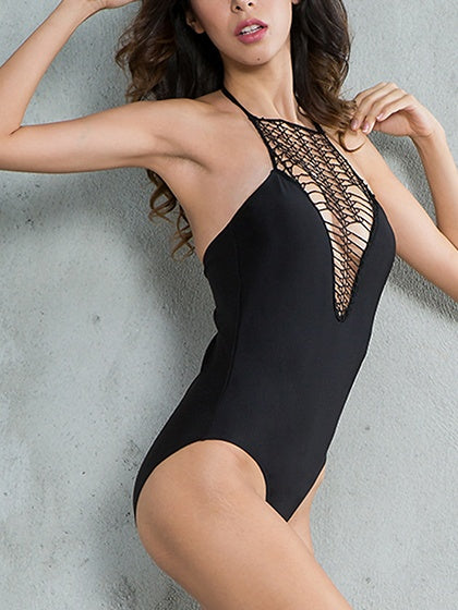 Black Halter Cut Out Detail Swimsuit