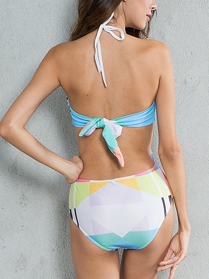 Polychrome Halter Plunge Geo Print Knot Back Swimsuit