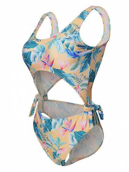 Polychrome Knot Side Leaves Print Swimsuit