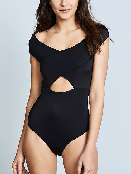 Black Strappy Cross Front Swimsuit