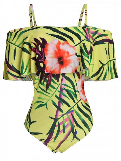 Yellow Spaghetti Strap Off Shoulder Leaves Print Swimsuit