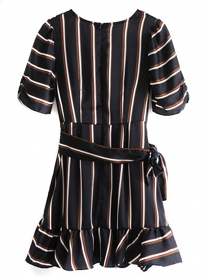 Black Stripe Tie Waist Ruffle Trim Mini Dress