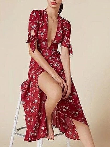 Red Plunge Tie Waist Floral Print Midi Dress