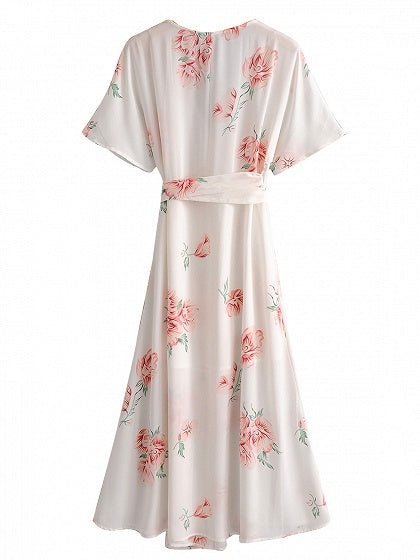 White V-neck Tie Waist Floral Print Maxi Dress