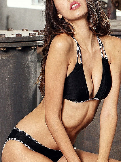 Black Halter Bikini Top And Bottom