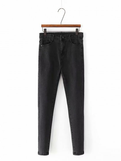 Black High Waist Stretch Fleece Skinny Jeans
