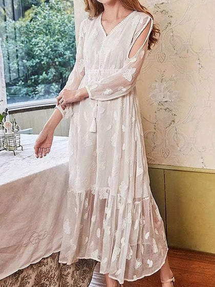 White V-neck Drawstring Waist Long Sleeve Maxi Dress