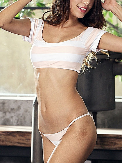 White Contrast Stripe Bikini Top And Bottom