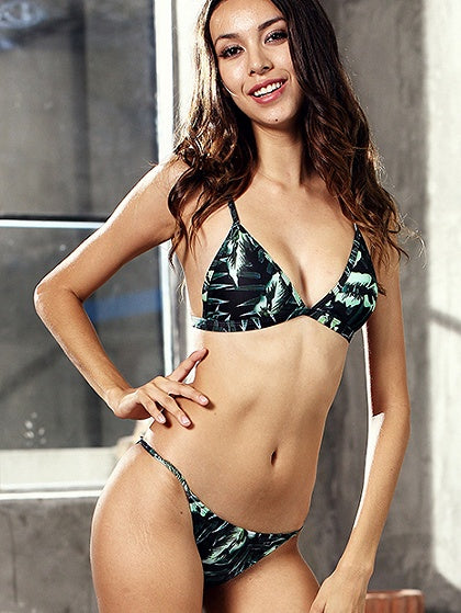 Dark Green Print Detail Bikini Top And Bottom