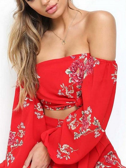 Red Two Pieces Off Shoulder Floral Print High Waist
