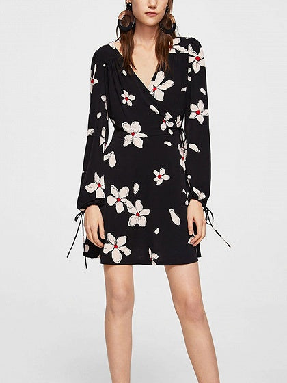 Black V-neck Floral Print Zip Side Long Sleeve Mini Dress
