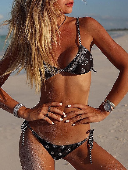 Black Floral Print Bikini Top And Bottom