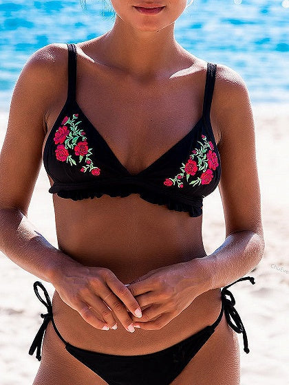 Black Embroidery Floral Frill Hem Bikini Top And Bottom