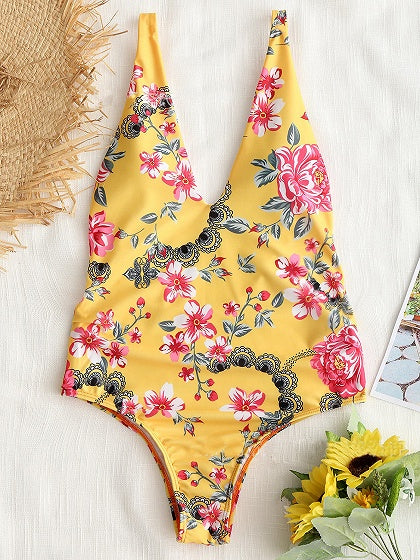 Yellow Plunge Floral Print Open Back Swimsuit