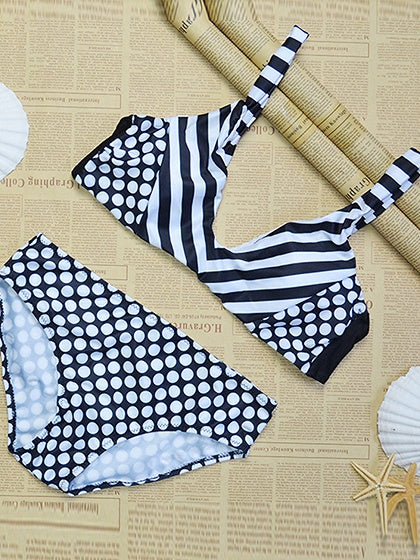 White Stripe V-neck Polka Dot Panel Bikini Top And Bottom