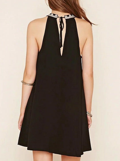 Black Halter Embroidery Detail Cut Out Back Mini Dress